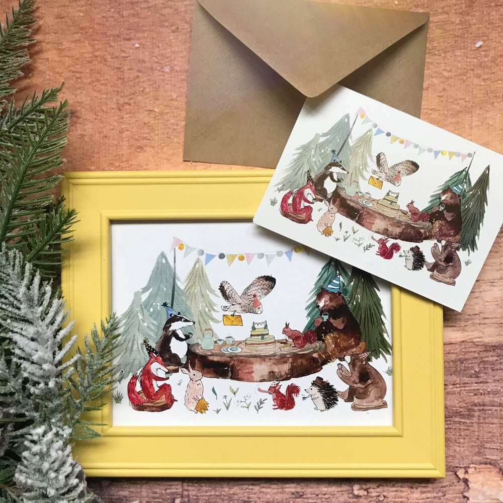 4Happy New Year woodland forest animal tea party card art print