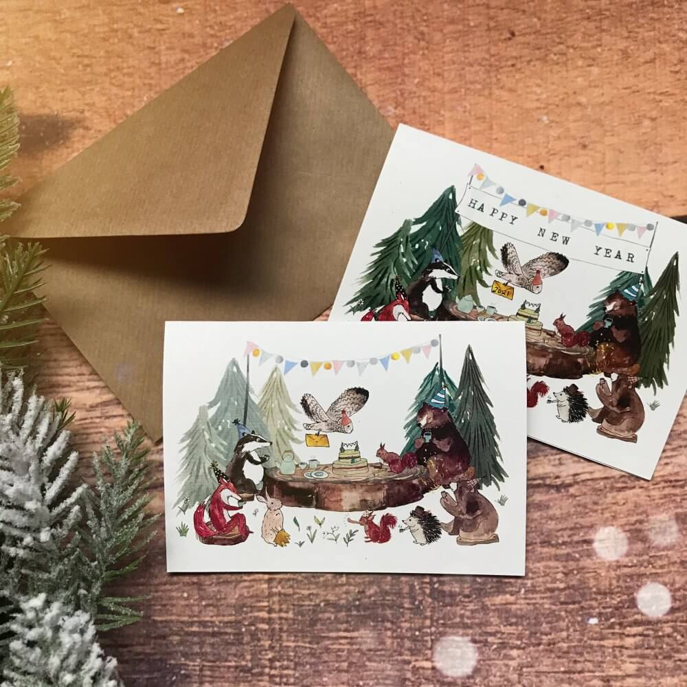 5Happy New Year woodland forest animal tea party card art print