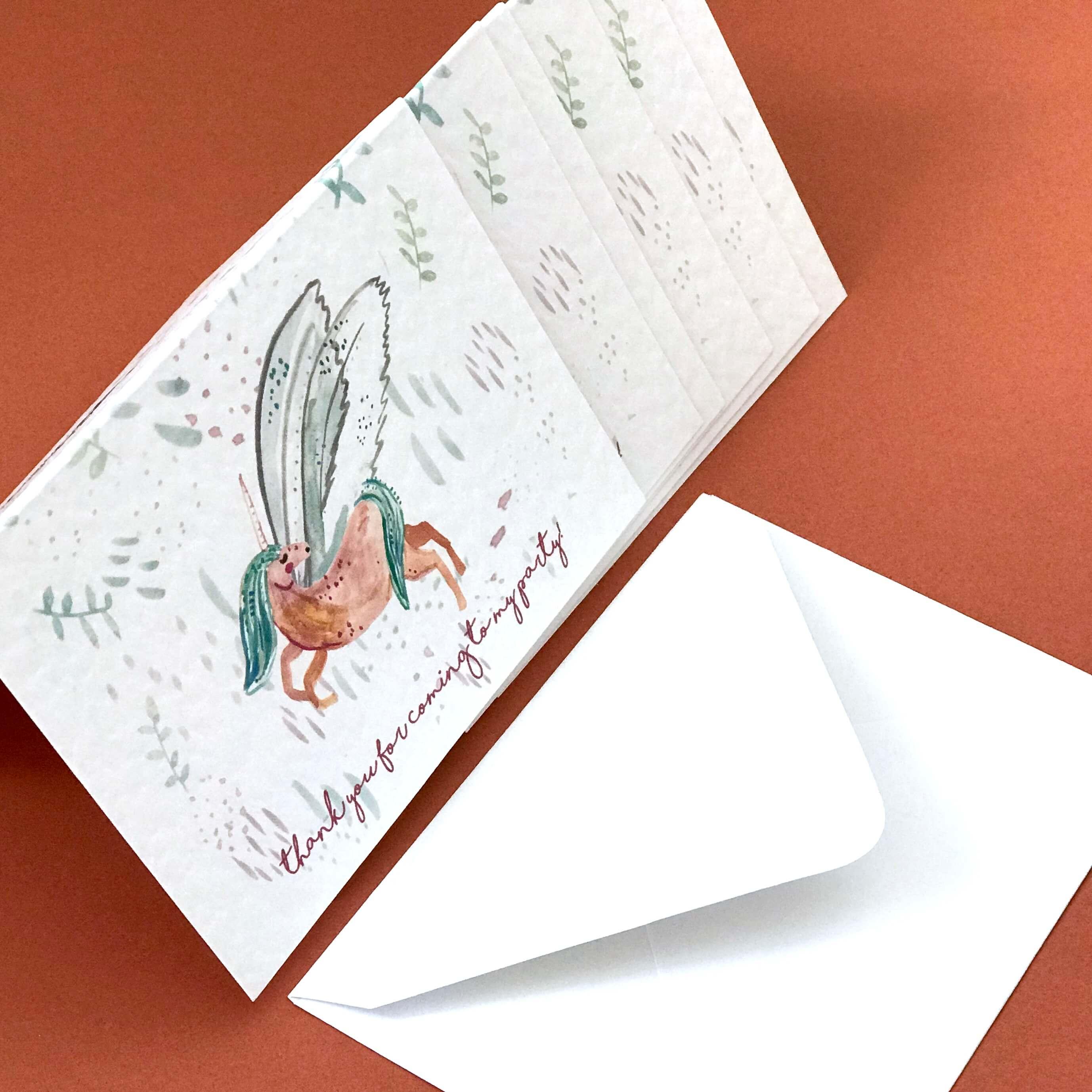magical unicorn thank you invites cards