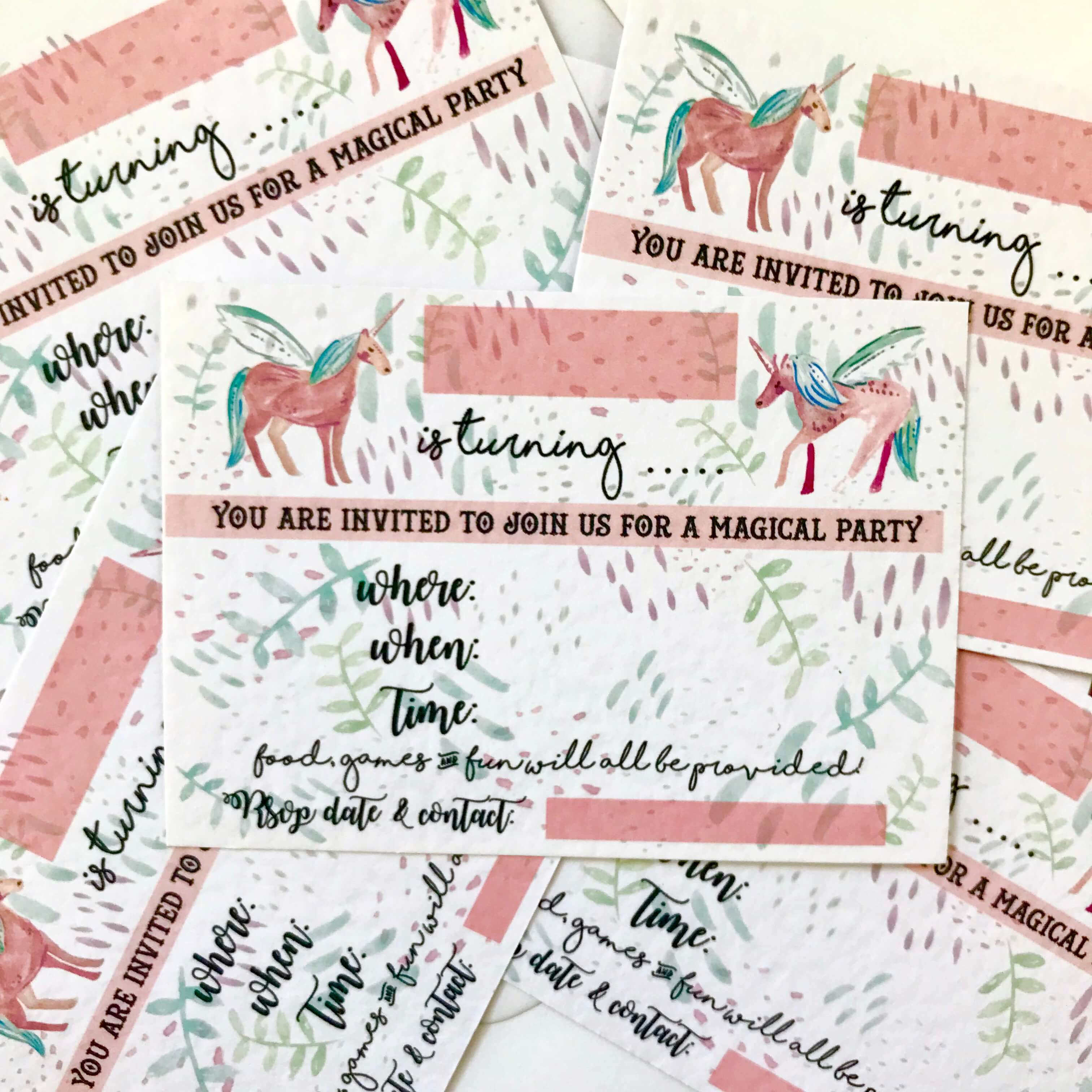 magical unicorn thank you invites cards