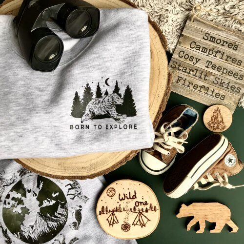 born to explore childrens woodland sweatshirt