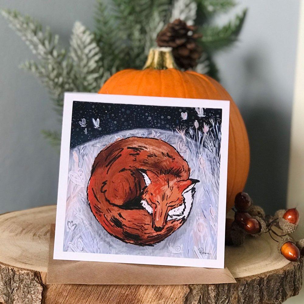 sleepy-fox-card