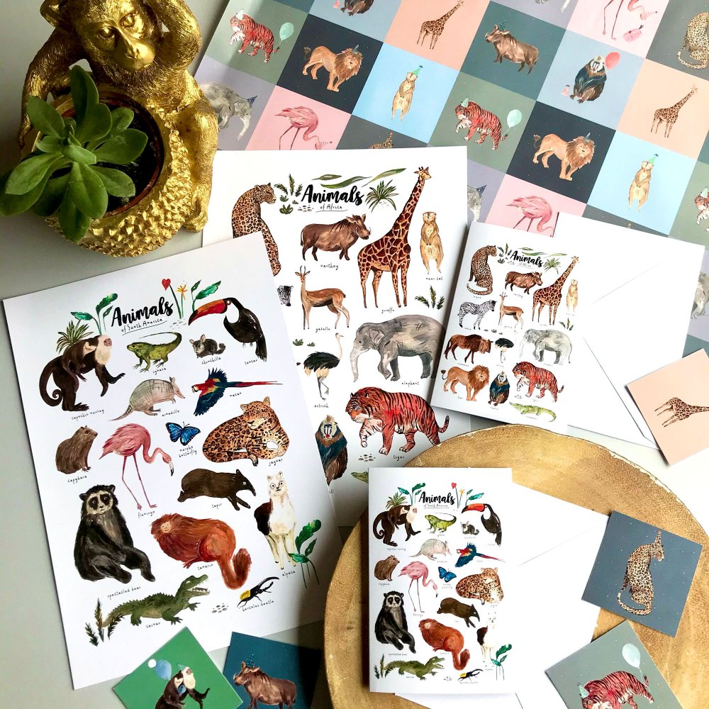 south-america-africa-animal-card-and-art-print