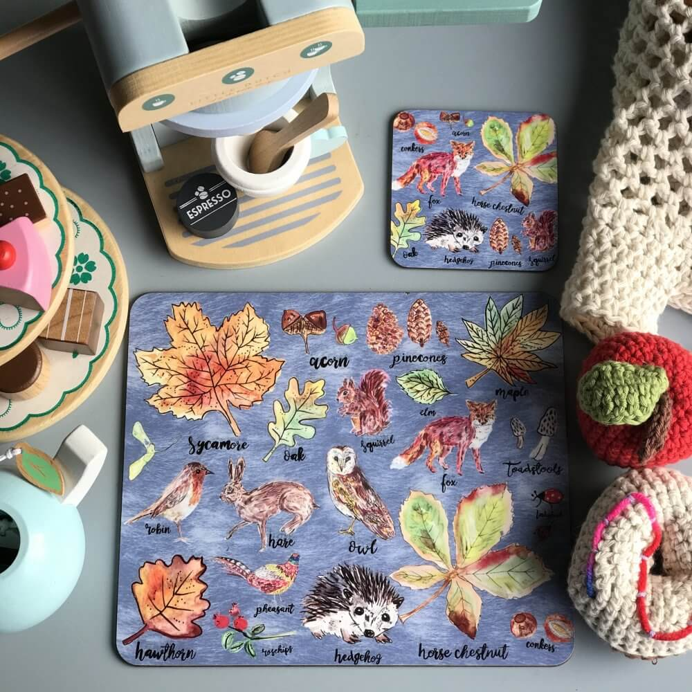 woodland walks coaster placemat set 0
