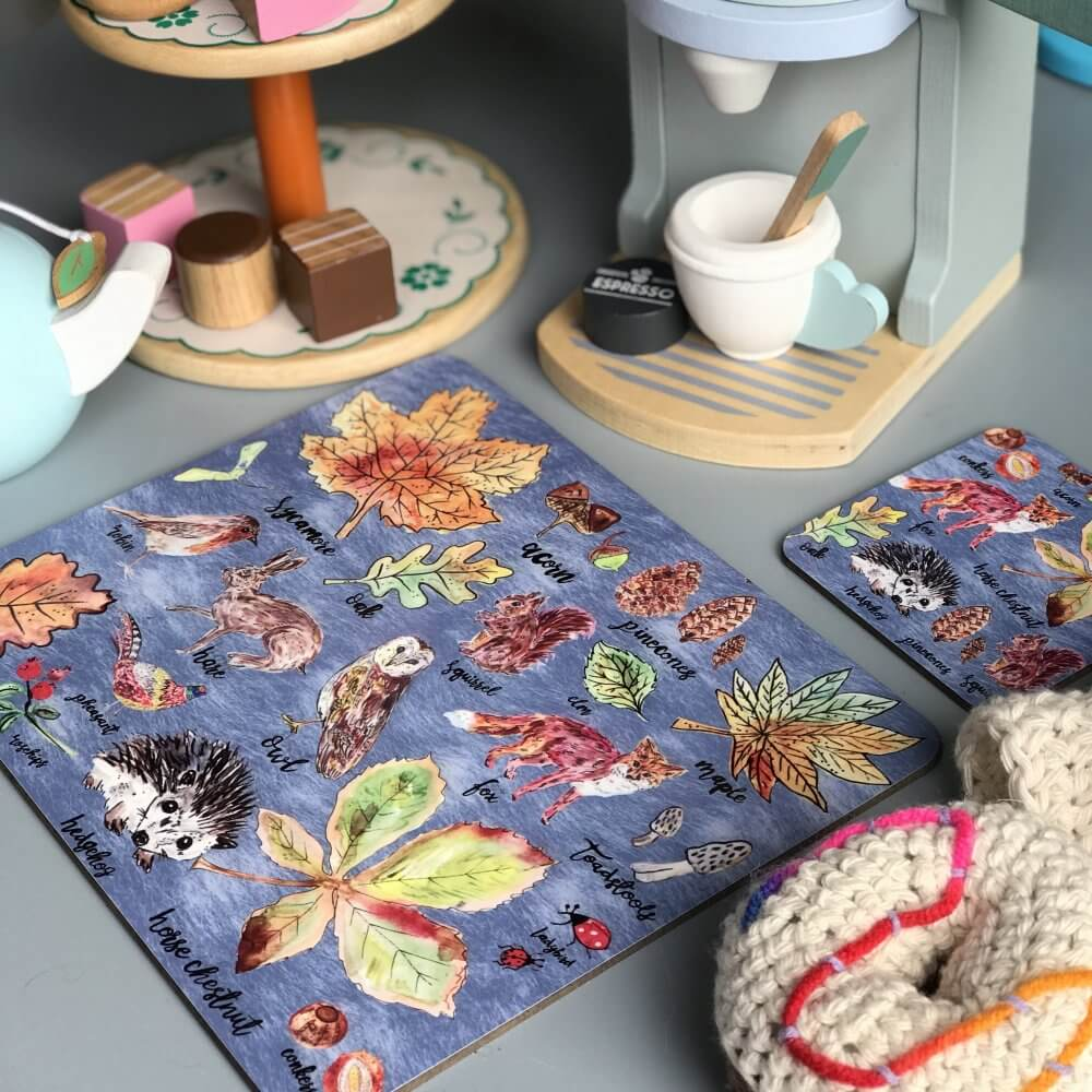 woodland walks coaster placemat set 0 2